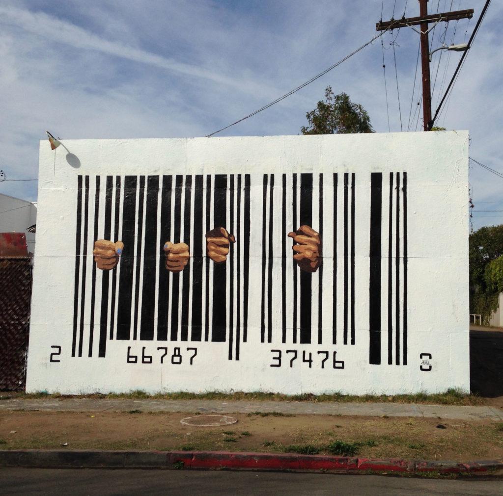 street art los angeles melrose mural kai aspire @kaiaspire barcode