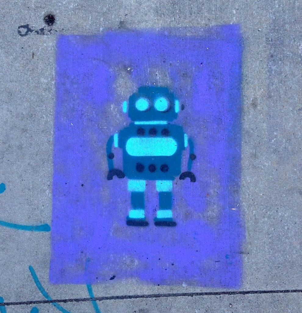 streetartlosangelessidewalkartrobot
