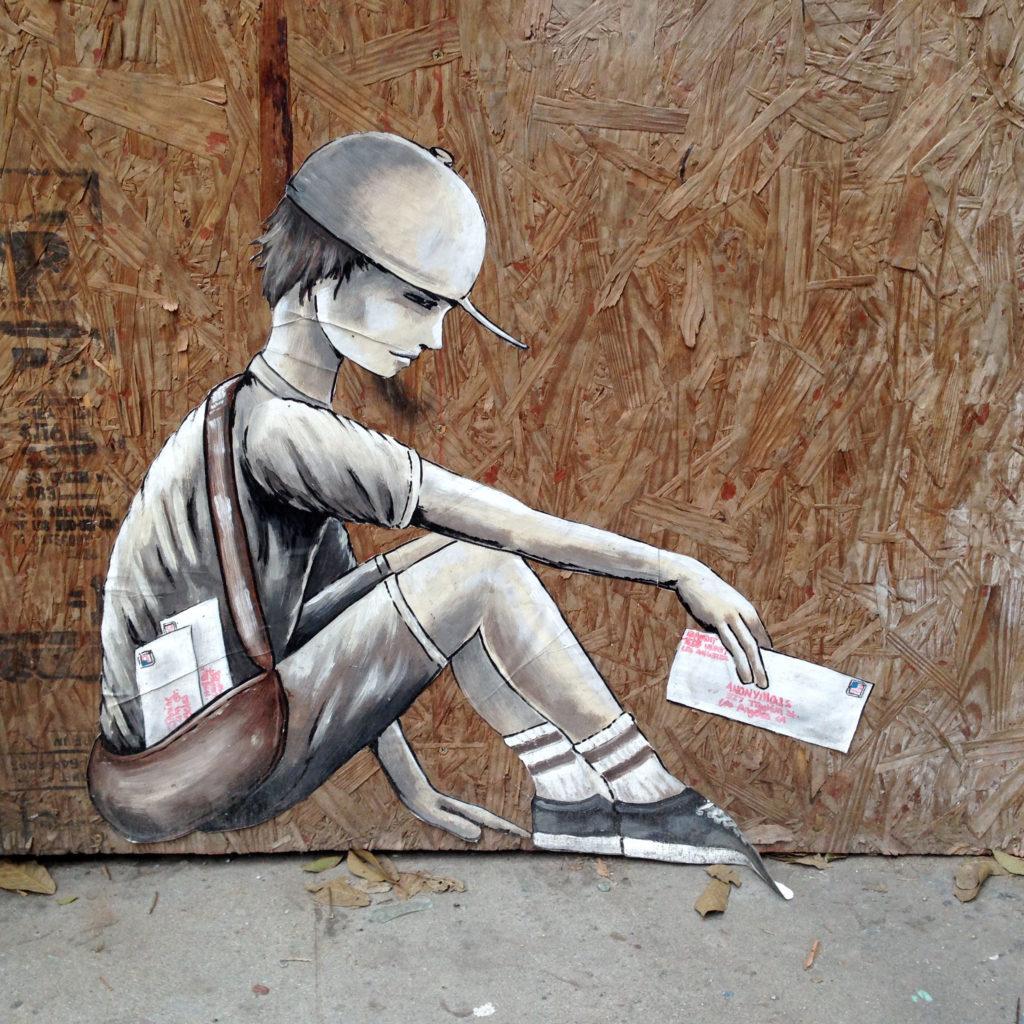 street art los angeles dtla bandit mail boy @banditstreetart